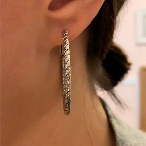 Stella and dot rope silver hoop earrings